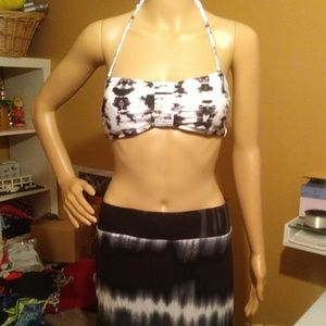 3 pce tie dye swim set with skirt cover-up